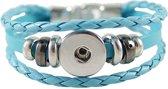 Lederen armband voor click buttons Lengte:20 cm