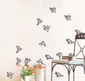 Muursticker met geometrische vogels (16 stuks) – Scandinavisch muursticker met vogels – Muursticker vogels – Geometrische muursticker – Afmeting L18 x B57 cm