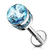 Piercing cylinder crystal gemmed steentjes aqua ©LMPiercings