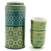 Images D'Orient POR-902052 kopje Blauw, Goud, Groen Koffie 2 stuk(s)