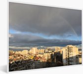 Foto in lijst - Regenboog boven de stad Sofia in Bulgarije fotolijst wit 40x30 cm - Poster in lijst (Wanddecoratie woonkamer / slaapkamer)