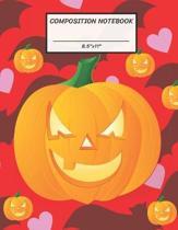 Composition Notebook: Halloween Pumpkin Jack O Lantern Face, Bat, Heart, Wide Ruled paper Notebook, Notes Taking, Basic Lines Journal,8.5''x1