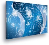 Floral Blue Canvas Print 100cm x 75cm
