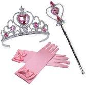 Prinsessen roze accessoireset handschoenen, staf, kroon