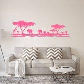 Muursticker Afrika Dieren -  Roze -  160 x 45 cm  - Muursticker4Sale