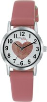 Little Miss Lovely  ML13536-115 - Horloge - Leer - Roze - Ø 25 mm
