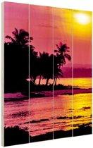 Siargao zonsondergang  Hout 20x30 cm - klein - Foto print op Hout (Wanddecoratie) / Zee en Strand