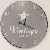 Wandklok Vintage Silver Star RETRO