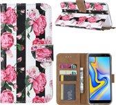 Xssive Hoesje Voor Samsung Galaxy J6 PLUS - Book Case - geschikt voor 3 pasjes - Pioenroos