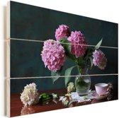 Vaas met Hortensia's Vurenhout met planken 30x20 cm - klein - Foto print op Hout (Wanddecoratie)