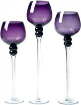 Windlicht - 3 set - 47 cm - Glas - Paars