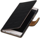 Huawei P9 Plus Hoesje Krokodil Bookstyle Zwart