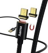Hama Magnetic Micro-USB naar USB Kabel - 1 Meter - Zwart