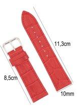 Horlogeband Leer 10mm - Croco Band + Push Pin - 100% Kalfsleer - Rood