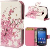 Pink plum print wallet case hoesje Samsung Galaxy Ace Style G310