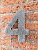 Grote betonnen huisnummer, Hoogte 25cm, huisnummer beton cijfer 4