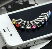 10 Stuks 3.5mm Diamant Stofkap iPhone Samsung HTC Sony - Multikleur (gemengde kleuren)