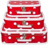 Speelgoed koffertje rood polka dot 25 cm