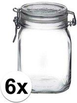6x stuks Glazen weckpotten/inmaakpotten 1 Liter