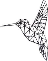 FBRK. Kolibri 50 x 42 cm Antiek Bruin - Geometrische dieren -Wanddecoratie