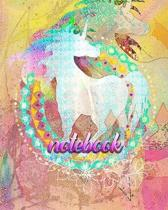Notebook: Colorful Rainbow Unicorn - 100 Pages 8''X10'' Girl's Composition Wide Ruled Notebook