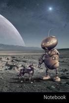 Notebook: Robot, Planeta, Luna, Espacio Cuaderno / Diario / Libro de escritura / Notas - 6 x 9 pulgadas (15.24 x 22.86 cm), 150