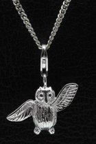 Zilveren Uil met vleugels open hanger én bedel