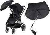 Universele Kinderwagen Parasol Paraplu - Baby Buggy UV Zonnescherm Regenhoes - Universeel - Zwart