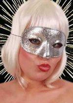 Oogmasker domino glitter zilver