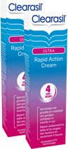 Clearasil Ultra Rapid Action Cream - Behandelingscrème - 2 x 15 ml - Grootverpakking