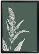 Vintage bloem blad pampa's gras poster Designclaud - Puur Natuur Botanical - Groen - A3 + Fotolijst zwart