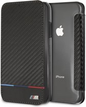 BMW Book Case Zwart - Carbon Look - Leer - iPhone XR  - Transparante achterzijde