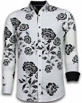 Gentile Bellini Italiaanse Overhemden - Slim Fit Overhemd - Blouse Flower Pattern - Wit - Maten: XXL