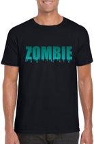 Halloween - Halloween zombie tekst t-shirt zwart heren - Halloween kostuum XL