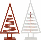 Mini-Kerstboom van hout - set 2 stuks - wit en bruin