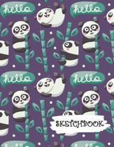 Sketchbook: Cute Cartoon Panda Bear Fun Framed Drawing Paper Notebook