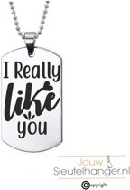 Ketting RVS - I Really Like You - Valentijn / Liefde Kado