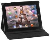Shop4 - iPad 3 of 4 (Retina) - Litchi Rotatie Hoes Draaibare Cover Zwart