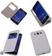 View Cover Wit Samsung Galaxy Core 2 Hoesjes TPU Book-Style