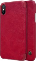 Hoesje voor Apple IPhone X en iPhone XS, Nillkin Qin series bookcase, rood
