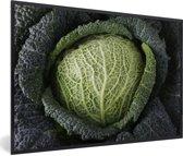 Foto in lijst - Donkergetinte mergkool met grote bladeren fotolijst zwart 60x40 cm - Poster in lijst (Wanddecoratie woonkamer / slaapkamer)