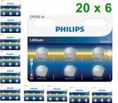 120 Stuks (20 blisters a 6st) - 6-Pack Philips CR2032 3v lithium knoopcelbatterij