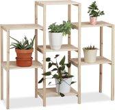 relaxdays plantenrek hout - plantenetagère rustiek - bloemenrek voor binnen - naturel L