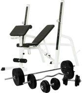 Gorilla Sports Halterbank / Squat Rack Met 100 kg Halterset -Kunststof