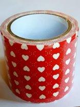 masking tape Rood met Hartjes A - decoratie washi papier tape - 48 mm x 4 m