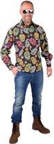 Spaans & Mexicaans Kostuum | Stijlvol Doodskoppen Dia De Los Muertos Hemd Man | XL | Halloween | Verkleedkleding