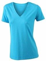 Turquoise dames stretch t-shirt met V-hals L