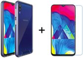 Samsung Galaxy M10 Hoesje Transparant - Siliconen Case - 1 x Tempered Glass Screenprotector - LuxeRoyal