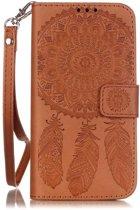 Shop4 - Samsung Galaxy S7 Hoesje - Wallet Case Dromenvanger Bruin