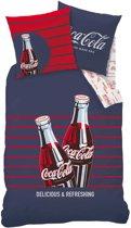 Coca Cola Lines - Dekbedovertrek - Eenpersoons - 140 x 200 cm - Blauw